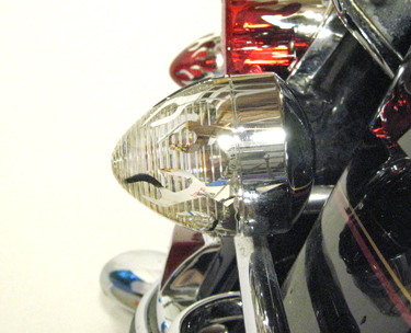 Chrome Clear Flame Bullet Turn Signal Lens For Harleys W